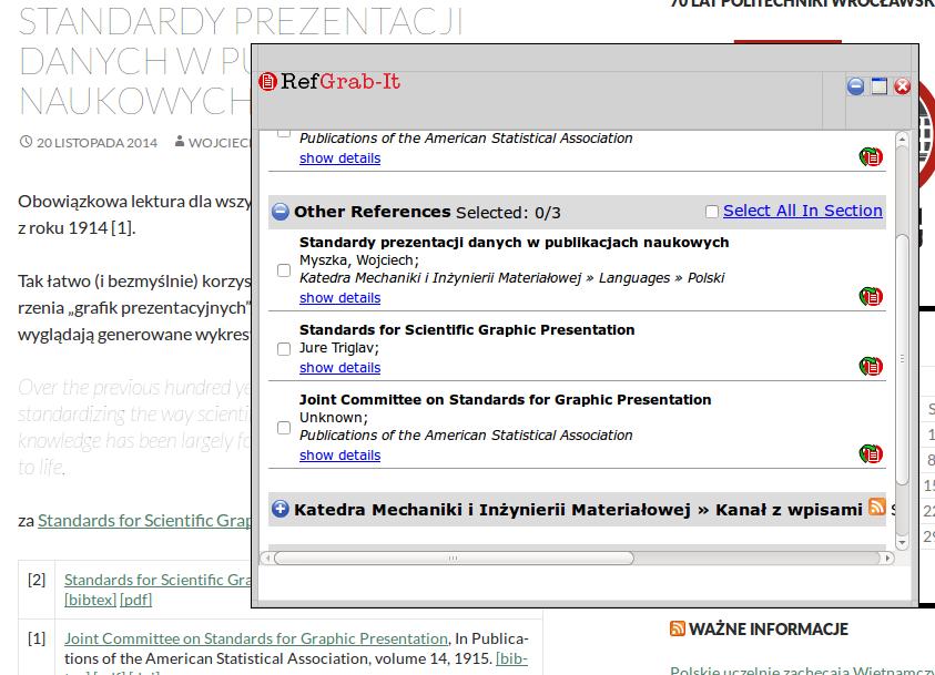 Dane bibliograficzne zespecjalnie przygotowanej strony WWW