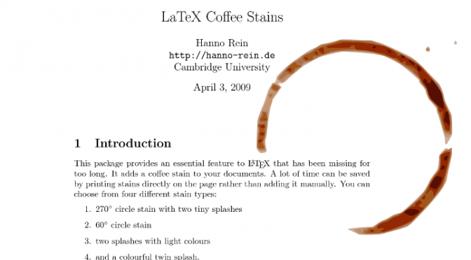 Coffee stains in LaTeX