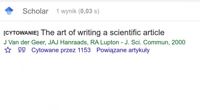 Sztuka cytowania (ipisania prac naukowych)