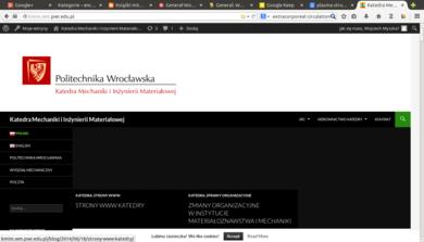 Strony WWW katedry