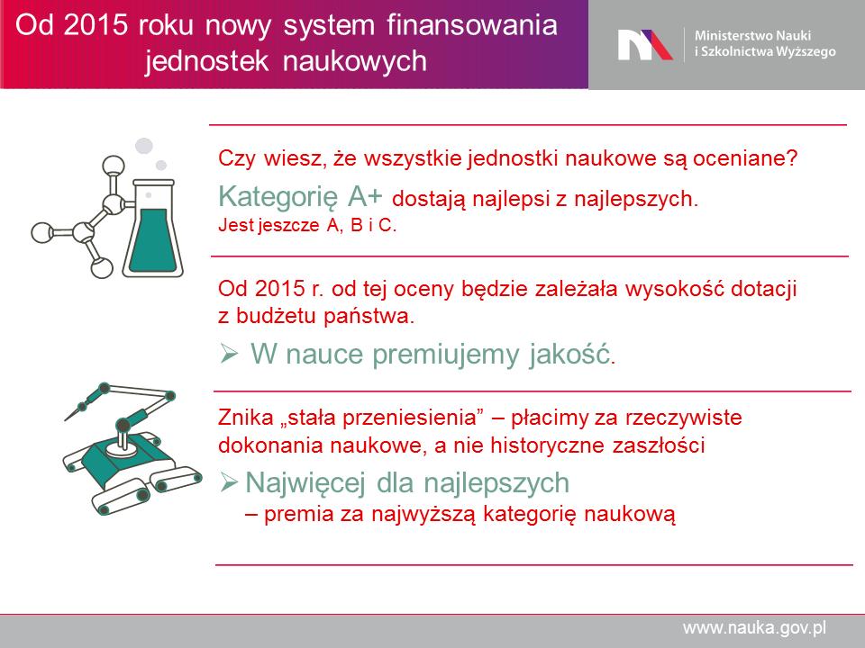 Od 2015 roku nowy system finansowania - Ministerstwo Nauki iSzkolnictwa Wyższego