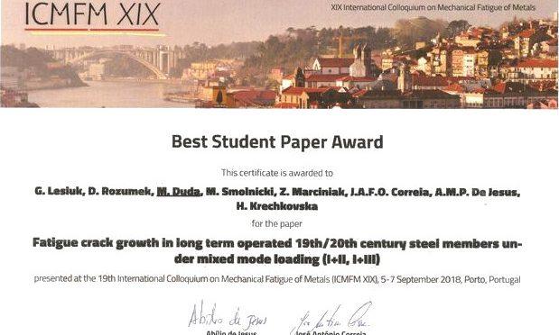 Best Student Paper Award dla doktorantki KMiIM Moniki Dudy