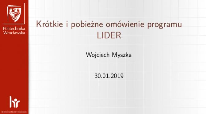 Krótkie ipobieżne omówienie programu LIDER