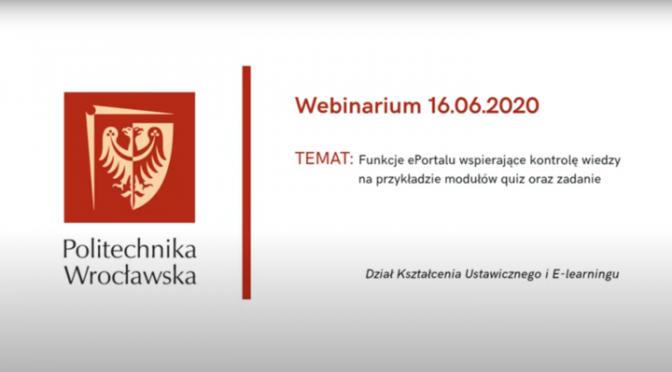 Webinarium: Funkcje e-portalu wspierające kontrolę wiedzy