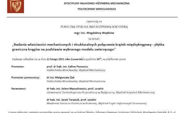 Publiczna obrona pracy doktorskiej Magdaleny Wojtków