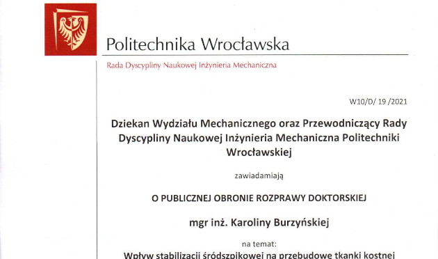 Publiczna obrona pracy doktorskiej Karoliny Burzyńskiej